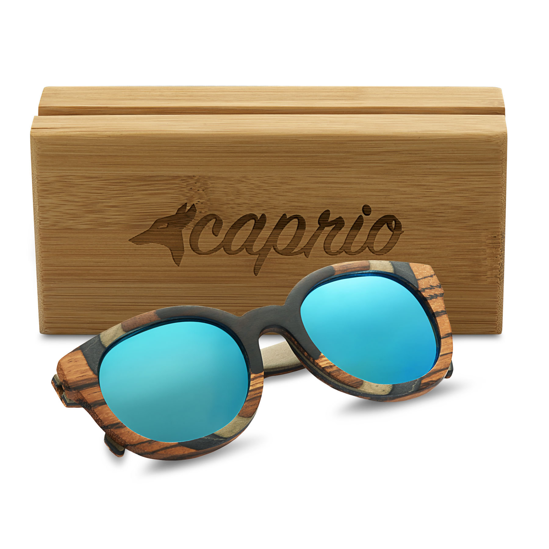 Caprio TAC Polarized Round Wooden Sunglasses for Women ...